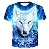 RelaxLife Herren 3D Druck T-Shirt Sommer Kinder 3D T-Shirt Tier Wolf Kopf Blaue Rose Blitz Mode Kinder T-Shirt Big Boy Mädchen Mode Kleidung T-Shirts