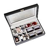 Goetland PU Leder Uhrenbox Brillenbox Schmuckkästchen Abschließbar Aufbewahrung 6 Uhren Stecker & 3 groß Sonnenbrillen Gitter