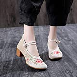 Jskdzfy Damen-Schuhe, bestickt, handgefertigt, Leinen, Baumwolle, bestickt, Blockabsatz, 4,5 cm, Leinen-Pumps für elegante Damen, alte Peking, große Schuhe (Farbe: Beige, Größe: 6,5)