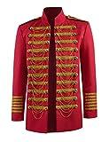 BellaPunk Zirkus kostüm Herren Dompteur Jacke Mantel Vintage Uniform Cosplay Kostüm (Herren XS, Rot)