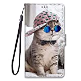 Miagon Full Body Flip PU Leder Schutzhülle für Samsung Galaxy A21S,Bunt Muster Hülle Brieftasche Case Cover Ständer mit Kartenfächer,Hut Katze