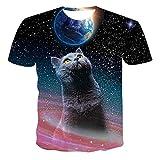 SSBZYES Männer großes T-Shirt Männer kurzärmelige Männer T-Shirt Männer und Frauen verlieren große 3D-Tierkatze drucken lässige T-Shirt Männer Kurze Ärmel