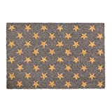 Relaxdays Fußmatte Kokos, Stern-Motiv, Türmatte 60 x 40 cm, Rutschfester Schuhabtreter, Türvorleger außen & innen, grau