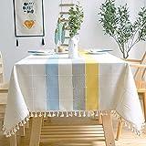 Verdicken Baumwolle Leinen Tischdecke Grün Plaid Woven Striped Stitching Tischdecke Spitze Anhänger Dekor Rechteckige Tischdecke 140x220cm Farbe 2