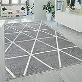 Paco Home Wohnzimmer Teppich Moderne Pastell Farben Skandinavischer Stil Rauten Muster, Grösse:120x170 cm, Farbe:G