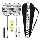 Whizz Kratzfestes Design Badminton Schläger Racket Set mit Tasche Griffband, 100% Graphit (Y56 Schwarz+Weiss)