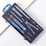 DSKJ Geometrie-Set, Edelstahl-Kompass, Zeichenwerkzeug, Mathezirkel für Geometrie-Kompass für Kinder, Zeichenkompass-Set, Mathematik-Zeichentrenner, Werkzeug-Set, 9 Stück Blau