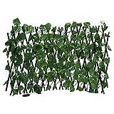 Einziehbarer Zaun Einziehbarer Zaun, künstlicher Gartenpflanzenzaun UV-geschützter Weinstock-Sichtschutzzaun Faux Ivy Fencing Panel Wandgitter für Hinterhof-Wohnkultur-Grünwände (Grüner Rettich)