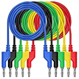 Xkfgcm 5 Stück Banana Plug Kabel Krokodilklemme 1m Messleitung 4mm Bananenstecker 5 Farben Kabel Messleitungen Für Multimeter Spannungsprüfer Strommessgeräte Stromprüfer Widerstandsmessg