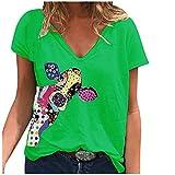 T-Shirt Frauen Casual Fashion Loose V-Ausschnitt Bedruckte kurzärmelige Tops (3XL,2Grün)