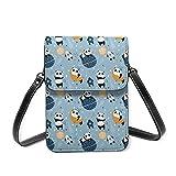 Kleine Handytasche, Motiv: Panda, Rakete, Universum, Leder, mit verstellbarem Riemen, Blau