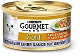 PURINA GOURMET Gold Zarte Häppchen in Sauce mit Gemüse Katzenfutter nass, mit Kalb und Gemüse, 12er Pack (12 x 85g)