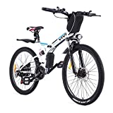 VIVI E Bike Herren Elektrofahrräder, 26 Zoll Mountainbike 350W E-Bike Klapprad Mit Herausnehmbarer 8Ah Batterie, Professionelle 21-Gang-gänge, Vollfederung Elektro Klapprad