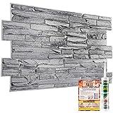 Dekorative Wandverkleidung – 18 Blatt   8,8 m²   94,5 m² – Naturgraue Steinstein-Ziegelsteine, Schieferplatten, 3D-Effekt, PVC
