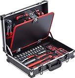 Meister Werkzeugkoffer 109-teilig - Stabiler Alu-Koffer - Werkzeug-Set - Für Haushalt, Garage & Werkstatt / Profi Werkzeugkoffer befüllt / Werkzeugkiste / Werkzeugbox komplett mit Werkzeug / 8971490