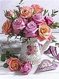 Malen nach Zahlen Blumensets Home Decor Bilder nach Zahlen Blume Zeichnung auf Leinwand Handgemalte Malerei Kunst DIY Geschenk A14 40x50cm