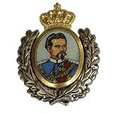 Hutanstecker | Hutabzeichen | Hutschmuck | Trachten-Anstecker – König Ludwig II – 3 x 3,5 cm - Goldener Einsatz mit Ehrenk
