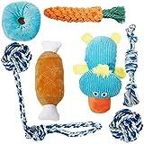 Toozey Welpenspielzeug - 7er Pack Dauerhaft Hundespielzeug für Welpe/Kleine Hunde. Welpen Zahnen Spielzeug Hund Seil Kauspielzeug und Quietschende Plüsch Hundespielzeug mit Wäschesack