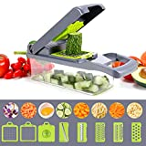 Gemüseschneider, Multifunktionaler Zwiebelzerkleinerer, Gemüsezerkleinerer mit 6 Edelstahlklingen, 12 in 1 Gemüseschneider mit Behälter, Mandoline Slicer, Ideal für Obst/Gemüse/Salate (Grau)