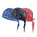 Vertvie 3 Stück Kopftuch Atmungsaktiv Sports Bandana Cap Bikertuch Bandanas Hat Radfahren Mütze Herren Damen (One Size, Blau + Schwarz + Rotdruck)