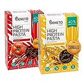 Beneto's High Protein Pasta   Insektenpasta aus Grillenmehl   2er Probierpaket   40% Protein   Natur & Tomate  2x 200g
