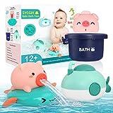 SYOSIN Baby Badespielzeug 3 Stück,Badespielzeug schwimmendes Sprühen Uhrwerk Kinderspielzeug Badewanne Spielzeug Bad Pool Spielzeug für 6 Monate - 1 2 3 Jahre Jungen und Mädchen