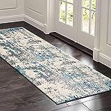 Teppich Läufer Flur küchenläufer Waschbare rutschfest grau Geometrische Muster, Badteppich Flurläufer Teppich Flur läufer Meterware für Innen Wohnzimmer Küche Schlafzimmer (Green-1)
