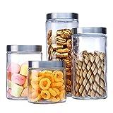 Eervff Glas Luftdicht Flasche Lagertank Haushaltsküche Transparente Farbe Lebensmitteltank * 4 Stück Set