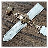 YGLONG Uhrenarmband Lederarmbands 14mm 16mm 18mm 19mm 20mm 21mm 22mm 24mm Uhrenarmband Weiche Schaumgurt Leder Uhrenarmband (Band Color : White Rose Gold, Band Width : 21mm)
