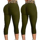 AFFGEQA 1PC/2PCs Damen Stretch Yoga Leggings Leopard Honeycomb Modedruck Slim Fit Yogahosen Push Up Hohe Taille Kurze Yogahosen Sportleggins Trainingshose