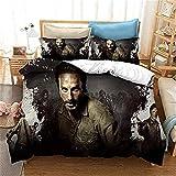 The Walking Dead Bettbezug-Set,Weich bequem,langlebig atmungsaktiv,pflegeleicht,für alle Jahreszeiten geeignet (Rick2, 200x200cm+80x80cmx2)