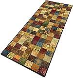 Kücheläufer Teppich Flur Lang Geometrische Muster Kurzflor 6mm rutschfest & leicht abwaschbar für Wohnzimmer, Flur, Büro, Schlafzimmer, Küche, Esszimmer gekettelt - 40x100cm
