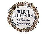 GRAZDesign Wandtattoo Herzlich Willkommen bei Familie, personalisiert mit Namen, Rundes Sticker mit Blumen für Flur / 50x50