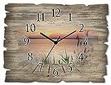 Artland Wanduhr ohne Tickgeräusche aus Holz Funkuhr 40x30 cm Rechteckig Lautlos See Steg Landschaft Sonnenuntergang Sonne Ländlich T9QD