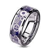 Paula & Fritz® Ring Herren Wolframcarbid Zahnräder Gr. 59 (18,8) Silber Blau 8-mm Breit Herren-Ring Damenring Verlobungsring Motivring Partnerring