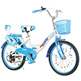 ALUNVA 20 22 Zoll Kinderfahrrad,Kompaktes Fahrrad,Faltfahrrad,Tragbares Fahrrad,Mini Leichte Faltbare Fahrrad,Blau Schwarz-Blau 2 20inch