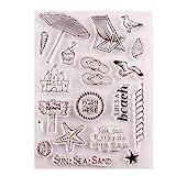 ECMQS Strand DIY Transparente Briefmarke, Silikon Stempel Set, Clear Stamps, Schneiden Schablonen, Bastelei Scrapbooking-Werkzeug
