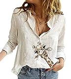 ORANDESIGNE Bluse Damen Giraffe Langarm Hemdbluse Basic Blusen Casual Oberteile Hemd Lose Langarmshirt Tops 01 Weiß XL