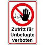 Schild'Zutritt für Unbefugte verboten' Hinweisschild 300x200 mm Hochformat, stabile Aluminiumverbundplatte 3mm stark