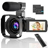 CLUINIGO Videokamera Full HD 2.7K Video Camcorder mit Mikrofon YouTube Tiktok Vlogging Digitalkamera IR Nachtsicht Camcorder 16-facher Digitalzoom Vlogging Kamera mit Fernbedienung,2 Batterien