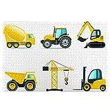 UV-Druck, bunt, Cartoon-Stil, schwere Maschinen, LKW, Kran, Bagger, Mischer, Traktor, Bauwerkzeug, Fahrzeug, Puzzle, inklusive 1000 Holzteile, Kinderspielzeug