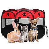 Greensen Welpenauslauf Faltbar Welpenlaufstall Hundelaufstall Tragbar Tierlaufstall Hundeauslauf für Hunde Hasen Meerschweinchen Katzen für Innern Oder Außen,600D Oxford-Stoff,Rot