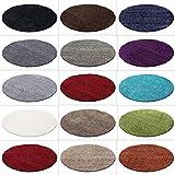 HomebyHome Hochflor Shaggy Teppich Rund Größen Langflorteppich, Farbe:Creme, Grösse:120 cm Rund