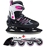 Cox Swain 2 in 1 Kinder Skates-/Schlittschuh -Joy- LED Leuchtrollen, ABEC 7 Carbon Lager, Schwarz/Pink, XS (29-32)