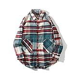 COTZFOZ Rot Blau Gitter Woll-Hemd für Männer Aufmaß lose Oberseiten Männer und Frauen Red 623 L