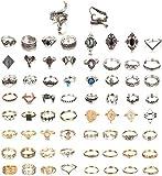 YADOCA 66 Stücke Vintage Knuckle Ringe für Frauen Mädche Midi Ring Böhmischen Knuckle Ring Stapelbar Ringe Modeschmuck Geschenk