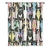 JKCloth Blickdichte Gardinen Verdunkelungsvorhang 2 Stück 220 x 215 cm Lichtundurchlässige Vorhang mit Ösen für Wohnzimmer Schlafzimmer Kind Junge Mädchen - Cartoon Farbe Cat