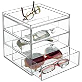 mDesign Aufbewahrungsbox für Brillen - Brillenablage für Brillenaufbewahrung in 3 Schubladen - für Brillen, Sonnenbrillen und Lesebrillen - durchsichtig