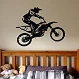 Motocross Wandtattoo Boy- Dirt Bike Wandtattoos Personalisierte Aufkleber Kinder Jungen Zimmer Kinderzimmer Junge Dekor Wasserdicht A3 52x42