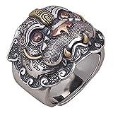 FORFOX Vintage 925 Sterling Silber Chinesischer Mythischer Tier PIXIU Ring für Herren Damen Verstellbar Größe 54-62